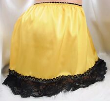 "Silky Soft satin Golden Black LACY short slip mini sissy skirt sz 24-38"" OS M"