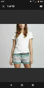 JOIE Women's Kimble Striped Linen Shorts Spearmint Size 4 Green White Black Gray