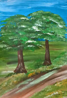 Unikat Mooseart Gemälde Landschaft Bäume Acryl auf Papier 21x30cm Original