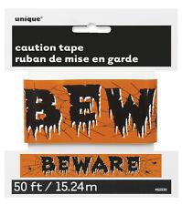 Decoraciones de Halloween Naranja Beware Warning Cinta Halloween Susto Cinta