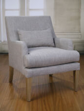 2 x Armchair Carvers Chair Grey Linen French Provincial Oak Bedroom Sitting New
