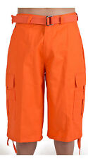 MEN BIG AND TALL CARGO SHORTS WITH BELT COTTON 19 COLORS TWILL 44~56