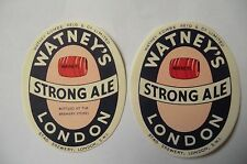 MINT PAIR WATNEY'S STAG BREWERY LONDON STRONG ALE LONDON BREWERY BOTTLE LABEL