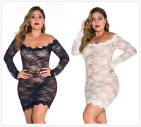 Plus Size Women Sexy Boat Neck Long Sleeve Solid Color Perspective Lace Dress