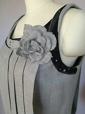 "CHANEL dress flapper gray wool beaded pleated flower ""Vintage"" couture sz 38/40"