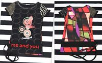 DESIGUAL Women's Short Sleeve Stretch Jersey T-shirt Top Blouse 'me and you'