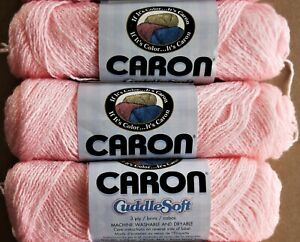 Lot of 3 CARON CUDDLE SOFT Pompadour Yarn #2807 BABY PINK 1.75oz
