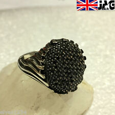 Turkish Sterling 925 Silver Pave-set Onyx Unisex Ring, Handmade Various Sizes