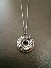 David Yurman Sterling Silver Diamond Cable Circle Pendant Necklace 16""