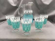 Mid Century Glass Pitcher w/ 5 Glasses Teal White Diamond Pattern Retro {DD405}