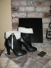 NEW* GORGEOUS! Giuseppe Zanotti Black Leather Shearling Cuff Booties Boots sz 38