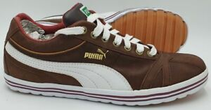 Puma Low Leather Trainers 344939 01 Brown/White UK8/US9/EU42
