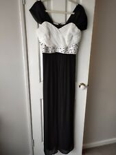 City Chic Black and White Beaded Maxi Ball Dress Size XS