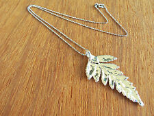 Fern Real Leaf Silver Dipped/Plated Pendant, Natural Leaf Necklace, with Chain