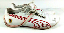 Mens Puma Sneakers Ferrari Logo White AthleticTennis Shoes Red Strippes Size 10