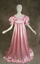 Rose Pink Jane Austen Style Regency 2 Piece Satin Ball Gown Dress Cosplay Large