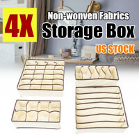4Pcs Collapsible Underwear Organizer Drawer Dividers Storage Box Set Foldable US