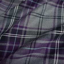 Grey & Purple Poly-Viscose Tartan Fabric (Per Metre)