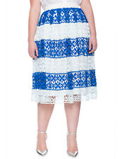 Eloquii Lace Floral Blue White Striped Skirt Size 20 NWT