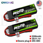 2X OVONIC 2200mah 11.1V 25C 3S Lipo Battery Deans for RC Helicopter Airplane Jet