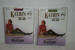 TWO NEW ITALIAN Katrin Sunlady 40/50 TG-4 MALVA & KIWI COLLANT MICROFIBRA TIGHTS