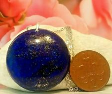 Genuine-NATURAL-Lapis Lazuli DISC pendant & REAL-sterling SILVER chain-NECKLACE