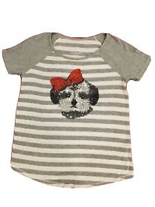 Justice Girl Size 8 Puppy Wz Red Ribbon Gray Shirt