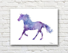 Running Horse Abstract Watercolor Painting Art Print by Artist DJ Rogers