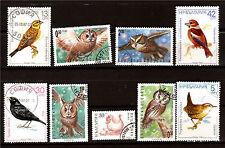 BULGARIA 9 sellos en el pájaros Lechuzas,merle,troglodita 1m 122