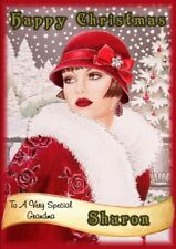 personalised Christmas card Art Deco any name/relation.