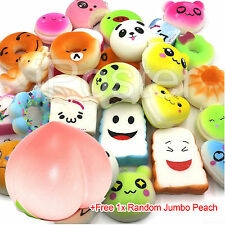 Random Jumbo Peach + 10Pcs Mini Squishies Bread Donut Panda Cake Cell Bun Straps