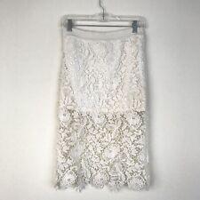 Lush Womens White Lace Crochet Overlay Skirt Size Small