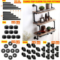"""10PCS DIY BLACK MALLEABLE IRON PIPE FITTINGS BSPT 1/2"""" 3/4"""" - INDUSTRIAL CHOOSE"""