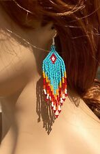 BLUE ORANGE HANDMADE SEED BEADED CHANDELIER EARRINGS E54/15