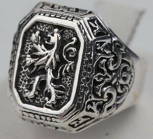 Ring Lion Sterling SILVER 875 Man's BIKER Gothik BRUTAL Style ANYMAL Size US 10