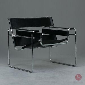 Knoll Wassily Chair B3 Bauhaus Sessel Braun Marcel Breuer Leder Schwarz TOP