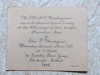 Wedding Invitation JUNE 24 1885  Clementine Sara to J Montignani in Scotland