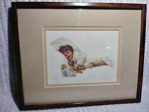 """Bessie Pease Gutmann Original Print 4"""" x 6"""" Girl Sleeping Bed Metal Framed Mat"""