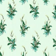 "SANDERSON CURTAIN FABRIC ""Muguet"" 3 METRES EGG SHELL BLUE LILY OF THE VALLEY"