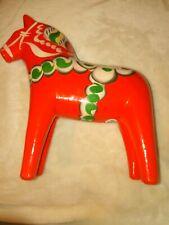 """Vintage large red Orange Nils Olsson AKTA DALAHEMSLOJD Swedish Dala Horse 9x8"""""""