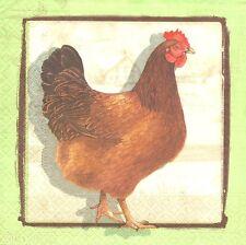 Lot de 2 Serviettes en papier Coq Poule Decoupage Paper Napkins Chicken