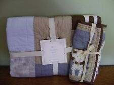 Pottery Barn Kids Bradley Organic Crib Quilt & Sham Nursery Bedding ~ Set/2