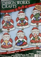 6 Christmas Santa's 14 Count Plastic Canvas Ornament Kit