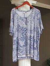 ARTISAN NY Navy Blue White Paisley Print Short Sleeve Tunic Top Size 3X NWT
