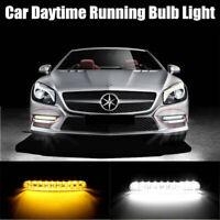 2X 30 LED Car Daytime Running Light White Amber DRL Driving Turn Signal Fog Lamp