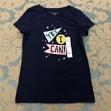 Cat & Jack Girls Sz L 10 12 TShirt Navy Blue Yes I Can Top Short Slv Graphic Tee