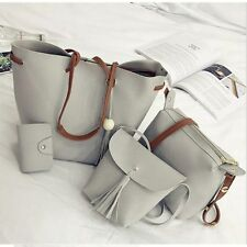 PU Leather 2/4pcs Women Handbag Shoulder Bag Tote Purse Messenger Satchel Clutch