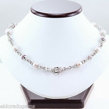 JUDITH RIPKA 5.00 CT. PINK SAPPHIRE DIAMOND PEARL STATIONARY NECKLACE 18K W GOLD