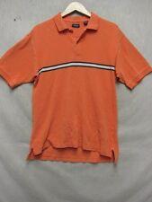 Z7003 Izod mens orange w/ blue/cream stripes short sleeve polo shirt size M.