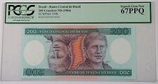(1984) Brazil 200 Cruzeiros Note SCWPM# 199b PCGS 67 PPQ Superb Gem New